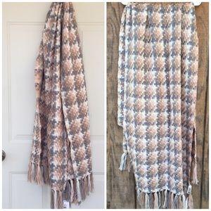 Calvin Klein Blanket Fringe Wrap Scarf NWT